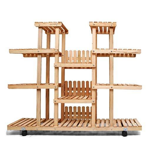 Pflanzenregale Mit Rädern Großes Holztopfregal Kräuterregal Pflanzen Treppe Mehrschichtig Mit Leitplankenaufbau Tingting (Farbe : Holz, größe : 149 * 150cm)