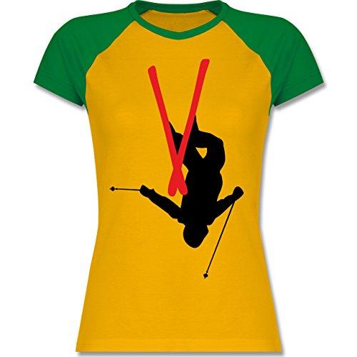 Wintersport - Freestyle Skiing - Freestyle Ski Tricks - zweifarbiges  Baseballshirt / Raglan T-Shirt