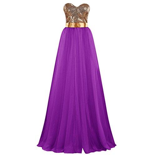 Find Dress Elégant Robe Demoiselle d'Honneur Princesse Colorée Mariée Femme Plissé Jupe Fille Party Anniversaire Robe de Soirée Longue Grande Taille Formelle en Tulle Pourpre
