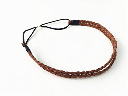 Handgemachte geflochtene Doppelschicht Haarband Multi-Color-Pinzette Stirnband Haarband,Braun