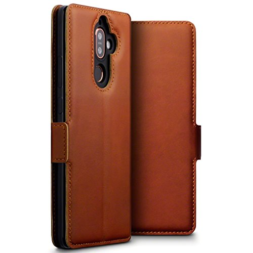TERRAPIN, Kompatibel mit Nokia 7 Plus Hülle, ECHT Leder Börsen Tasche - Ultra Slim Fit - Betrachtungsstand - Kartenschlitze - Cognac