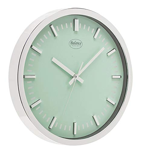 Balance 776831 Mechanical wall clock Círculo Verde, Plata - Reloj de pared (AA, Verde, Plata, De plástico, 300 mm, 300 mm, 30 cm)