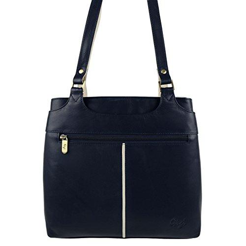 2284fb0fea08e ... Damen Bicolor Schulter Handtasche aus weichem Leder von Gigi Othello  Collection Bag Navy Ivory ...
