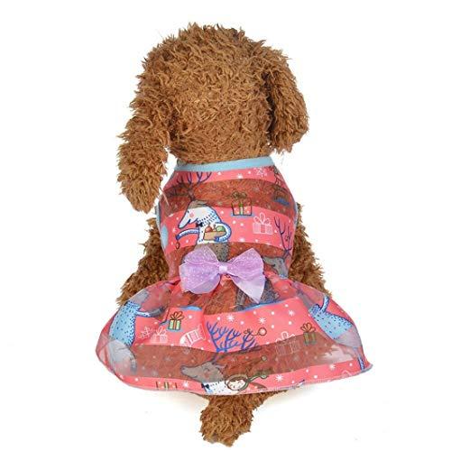 AMURAO Sommer Hund Kleid Haustier Katze Schmetterling Cartoon Print Bogen Kuchen Rock Kostüme Haustier Spitze verziert - Besten Baby Kostüm Überhaupt