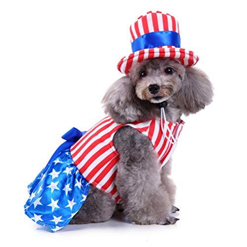 POPETPOP Hundekostüm Cape-Dog Kostüm USA Flag Style Haustier Streifen Kleidung mit USA Hut für Unabhängigkeitstag oder Memorial Day - Größe S (Girl)