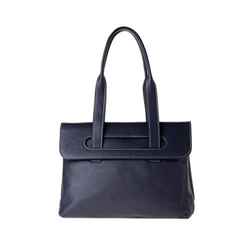 Sac porté épaule de taille moyenne en cuir made in Italy doubles poignées DUDU Bleu