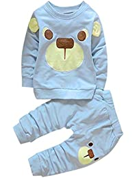 SMARTLADY - Bebés Niños Niñas Oso Lindo Sudaderas Tops Manga Larga + Pantalones Largos Conjunto de trajes