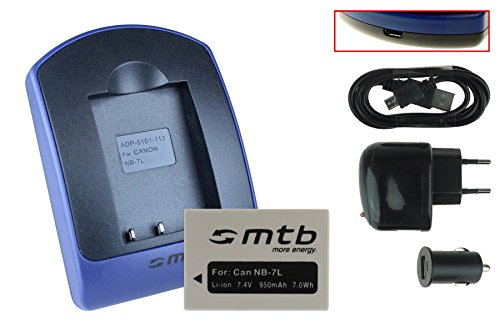 BATERìA + CARGADOR (USB/COCHE/CORRIENTE) NB 7L PARA CANON POWERSHOT G10  G11  G12  SX30 IS