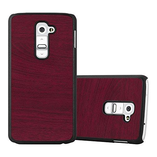 Cadorabo custodia per lg g2 in woody rosso – rigida cover protettiva sottile con bordo protezione – back hard case ultra slim bumper antiurto guscio plastica