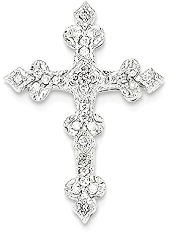 IceCarats 14k White Gold Diamond Filigree Cross Religious Pendant Charm Necklace Fancy
