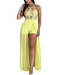 333c506b53a Mujer Vestidos De Fiesta Esencial Largos De Noche Elegantes Gasa Moda Sin  Mangas Hombro Descubierto Espalda