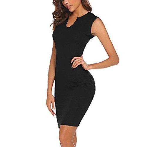 Damen Kleider Frauen Dress Retro Minikleid Bodycon Etuikleid Knielänge Formelle Büro Kleid 1/2 Hülse Bleistiftkleid mit Reißverschluss Umlegekragen Partykleid Cocktailkleid (L, Schwarz)