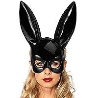 serliy Helle Ostern Party Hasenohren Maske Halbe Gesichtsmasken Nachtclub Bar Masquerade Unterwäsche Babydoll Nachtwäsche Spitzenkleid G-String-Maske Set Geschenk Partei
