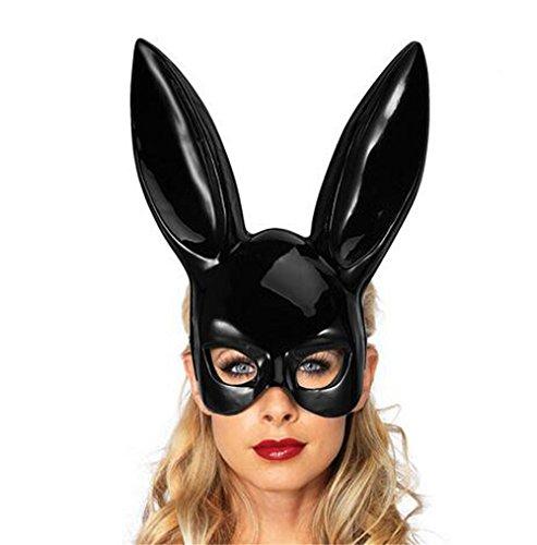 BaojunHT® Maske für Erwachsene, Osterhasenmaske, Frauenmaske, Halbgesicht, matt/helle Masken für Ostern, Nachtclub, Bar, Geburtstag, Party, Halloween, Cosplay, Zubehör, Schwarz, Bright