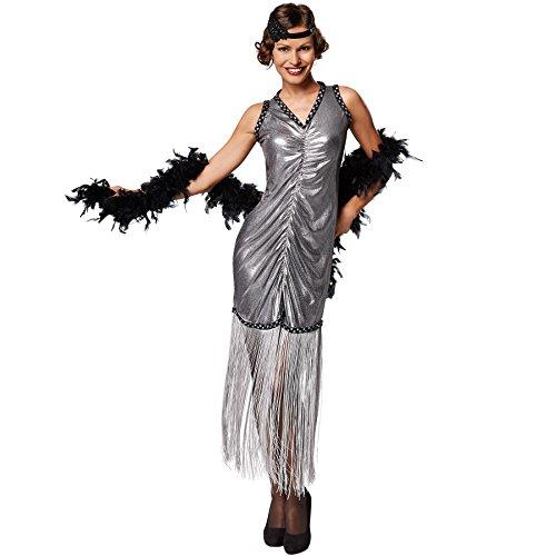 Broadway Kostüm Party - TecTake dressforfun Frauenkostüm Broadway | Figurbetontes, sexy Kleid mit Fransen (M | Nr. 301596)