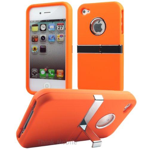 Apple iPhone 5 / 5s Etui Coque - Housse Etui Portefeuille Pu Cuir Rouge Pour Le Apple iPhone 5 5S - thinkmobile Stand Série Orange