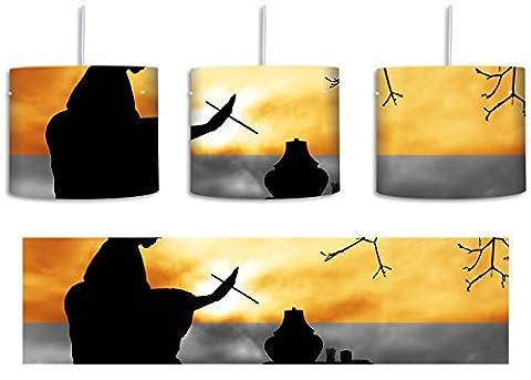 traditionelle Gesha bei Teezeremonie schwarz/weiß inkl. Lampenfassung E27, Lampe mit Motivdruck, tolle Deckenlampe, Hängelampe, Pendelleuchte - Durchmesser 30cm - Dekoration mit Licht ideal für Wohnzimmer, Kinderzimmer, Schlafzimmer