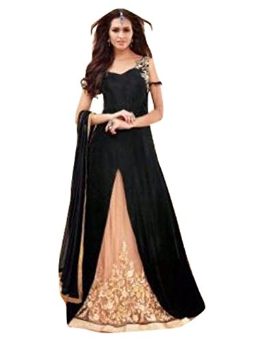 Alethia Enterprise Black & Cream Colored Goergette Embroidered Semi-Stitched Salwar Suit-ALK536DLC2848