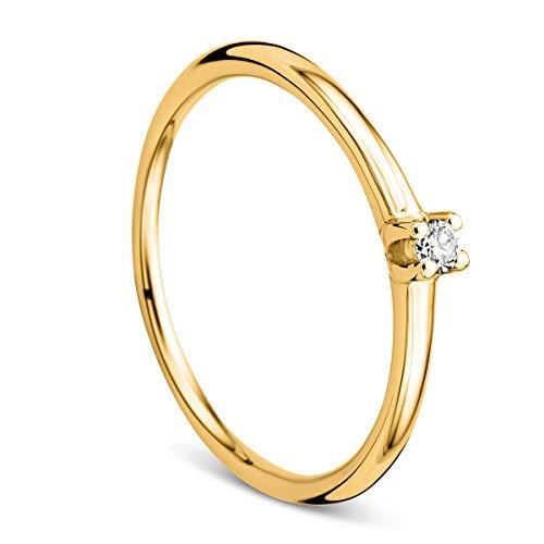 Orovi Ring für Damen Verlobungsring Gold Solitärring Diamantring 9 Karat (375) Brillianten 0.04ct Gelbgold Ring mit Diamanten Ring Handgemacht in Italien