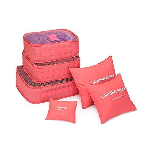 Emballage de 6 cubes de voyage bagages Organisateurs emballage Cubes Organisateurs de compression poches – Sac à linge, maquillage pour voyage ou camping pour vêtements Chaussures Chaussettes underwares Bras de rangement Rouge Rouge pastèque