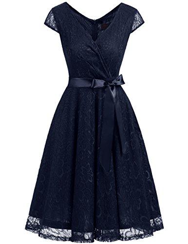 Dresstells Elegant Spitzenkleid Knielang V-Ausschnitt Brautjungfernkleid Cocktailkleid Abendkleider Navy 2XL