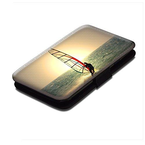 Extreme Sport 070, Windsurfen, Schwarz Leder Hülle Fall Ledertasche Handyschutzhülle Klappetui für Handy mit Magnetverschluss und Farbig Design für Samsung Galaxy S4 i9500