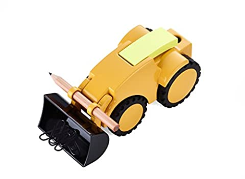 Troika–GAM40/Yellow Paper Clip Holder–Digger, Wheel Loader Adjustable Blade–Paperweight Pen Holder with 1Pencil, Metal Casting, Shiny, Yellow, Black