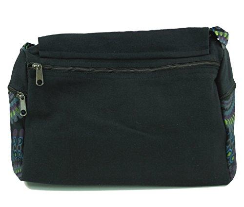 Guru-Shop Schultertasche, Hippie Tasche, Goa Tasche - Braun, Herren/Damen, Baumwolle, 23x28x12 cm, Alternative Umhängetasche, Handtasche aus Stoff Schwarz