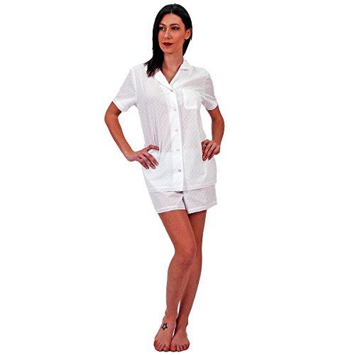 Pigiama Donna doubna raso di cotone, nero, 0 - XS Bianco