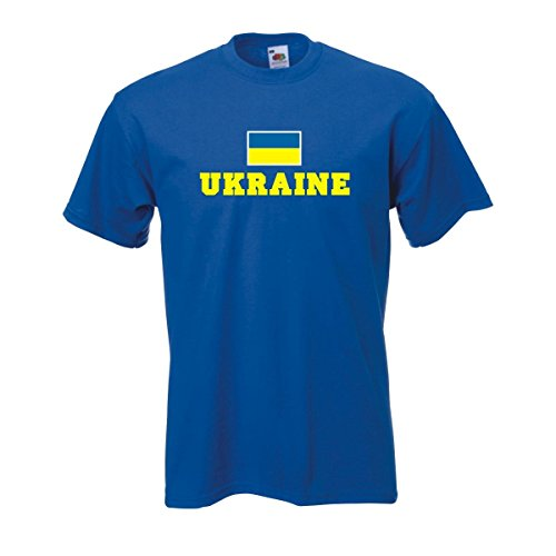T-Shirt UKRAINE Flagshirt bedrucktes Fanshirt, Flagge und Schriftzug Geschenk Andenken für Besucher Gäste Fans (WMS02-69a) Mehrfarbig