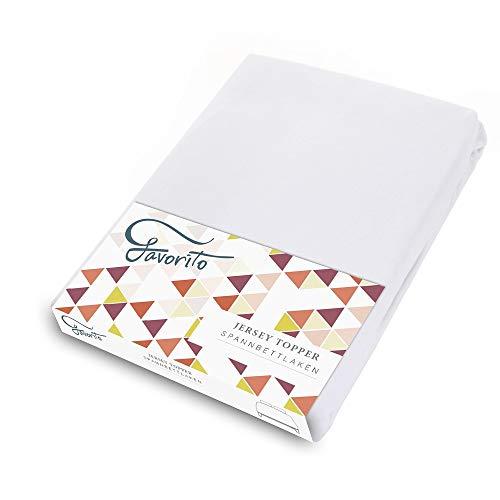 Favorito Jersey Topper Spannbettlaken - 100% Baumwolle Spannbetttuch - 180x200-200x200 cm, Weiß