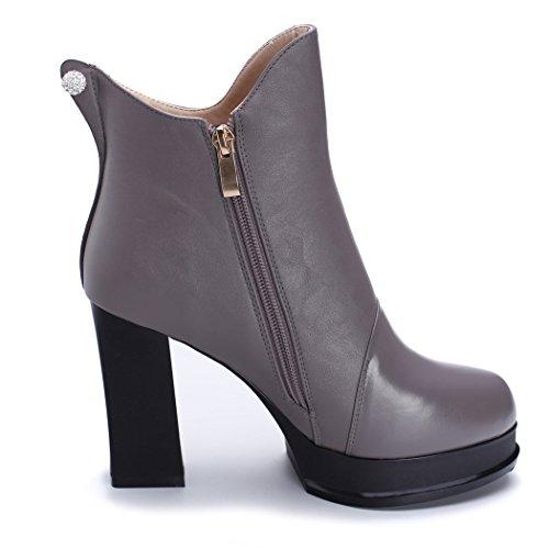 ZQ@QXregalo di Natale Europa stivali in pelle con diamante spesso alti stivali gray