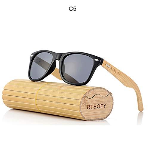 DAIYSNAFDN Retro Bambus Holz Sonnenbrille Männer Frauen Designer Brille Gold Spiegel Uv400 Eyewear C5
