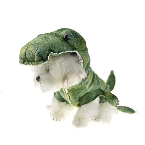 MUYAOPET Muyaotet Halloween-Kostüm, Dinosaurier, für Kleine Hunde, Winterjacke für Bulldogge, S, grün