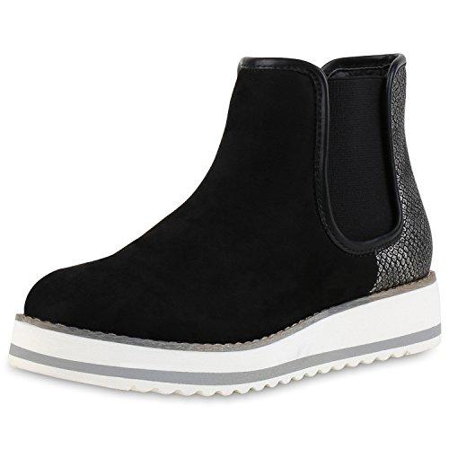 Damen Chelsea Boots Prints Weiße Profil Sohle Stiefeletten Schwarz