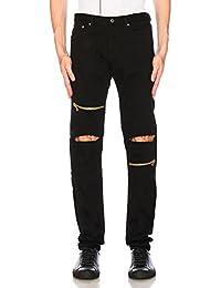 Damler Black Men's Slim Fit Distressed Knee Slit Zipper Jeans