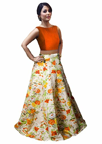 M P STORE's HOLI Special Designer Lehenga Choli for Women/Girls Orange Color...