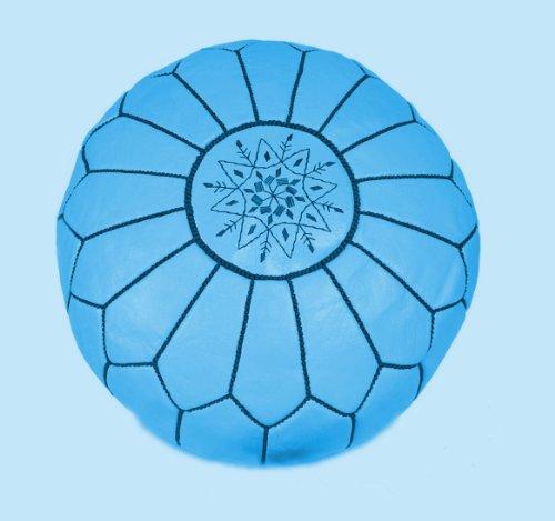 Puf de cuero marroquí azul claro (lleno) 55x55x30 cm oferta limitada