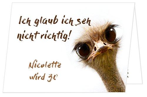 Unser-Festtag Schräger Vogel Lustige, Witzige Einladungskarten für runden Geburtstag - 30 Karten
