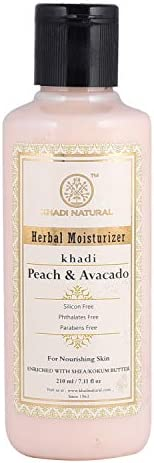 KHADI NATURAL Peach and Avacado Herbal Moisturizer With Shea/Kokum Butter, SLS and Paraben Free, 210 ml