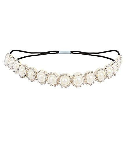SIX Hochzeit elegantes elastisches Damen Haarband mit Blumen Elementen aus Perle und Glitzer Stein, Kopfband, Haarschmuck, Hochzeit (456-429)