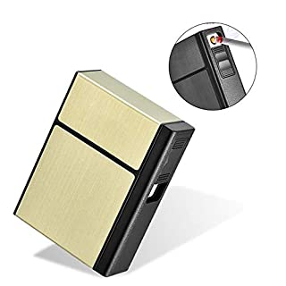 AUOKER Cigarette Case Box with Electric Lighter, King Size 20PCS Cigarettes Holder Metal USB Separable Rechargeable for Whole Package Cigarettes, Flameless Windproof Lighter with USB Cable - Gold