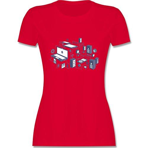 Nerds & Geeks - Netzwerk Design - tailliertes Premium T-Shirt mit Rundhalsausschnitt für Damen Rot