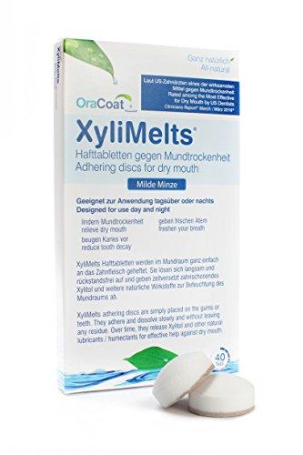 OraCoat XyliMelts - 40 Haft-Tabletten gegen Karies und Mundtrockenheit - Mit Xylit und Calciumcarbonat - [Milde Minze] - Langanhaltende Zahnpflege - Diskret - Im Schlaf verwendbar - VEGAN