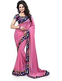 Xotic Enterprise Women's Georgette Solid Saree With Blouse Piece - Zeel-240_Pink_Free Size