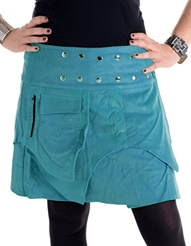 Vishes - Alternative Bekleidung - Mini Wickel Rock aus Cord mit Druckköpfen, Zipfeln und Schnürung türkis -