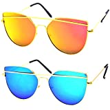 #5: Y&S Low Price Discount Offer Unisex Combo of Branded Stylish Reflector Sunglasses For Men Women Boys & Girls ( OC-DRGYM-DRGBM ) - 2 Sunglass Case