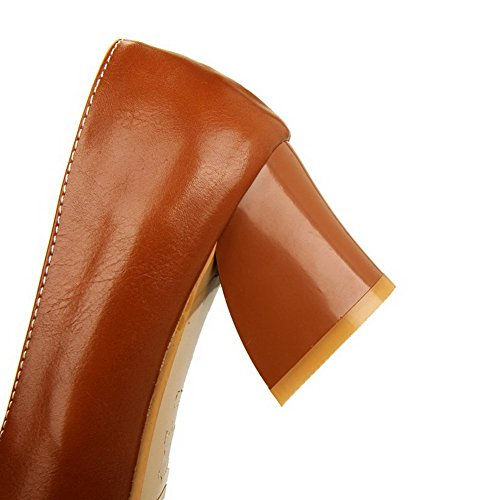 AgooLar Femme à Talon Correct Matière Souple Couleur Unie Tire Pointu Chaussures Légeres Brun