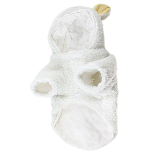 Haustier Kleidung - TOOGOO(R)Weisse Schafe Design Stud-Knopf Hund Pudel Mantel Kostuem Groesse L