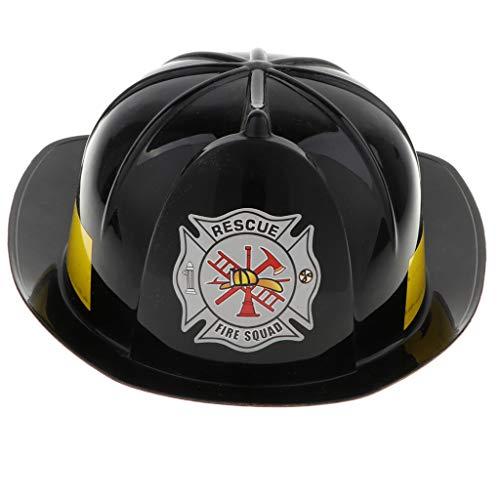 FLAMEER Kleiner Schutzhelm Feuerwehrhelm Spielzeug für Kinder und Kleinkind Halloween Feuerwehrmann Kostüme - Schwarz